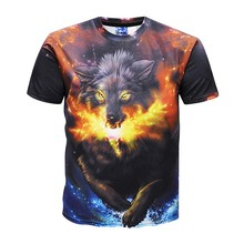 2019 Fashion 3D Wolf Print T Shirts For Man Summer Days Short Sleeve High street Hip Hop Tshirt Animal Tee Casual Slim Fit Tops недорго, оригинальная цена