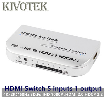 4K*2K/60Hz 3D 5x1 HDMI Switch 5 to 1 Switcher Adapter Connector DTS/Dolby-AC3 Power Supply For AV HDTV Box Monitor Free Shipping