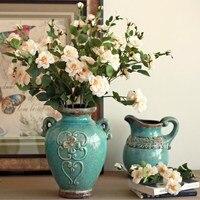 American Antique Ceramic Vase Ornaments Creative Flower Vase Crafts Home Furnishings Ceramic Vase Art Decor Housewarming Gifts