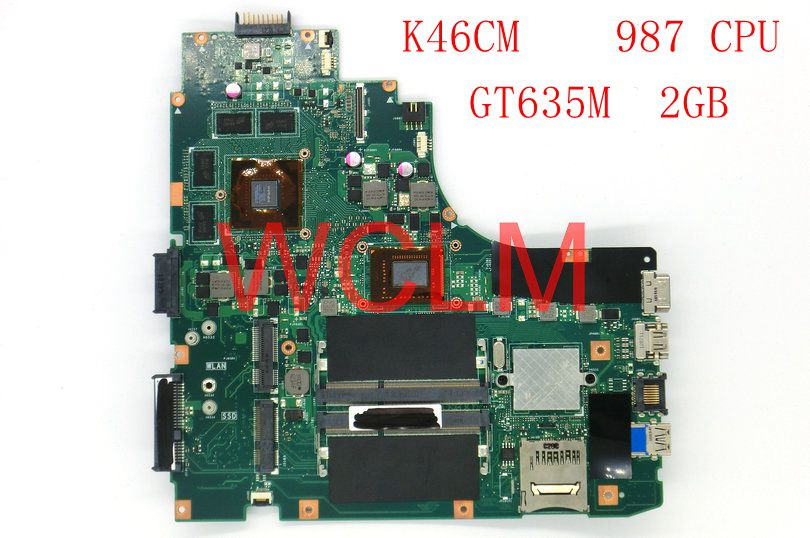 free shipping K46CM With 987CPU GT635M 2GB mainboard For ASUS A46C K46C K46CB K46CM laptop motherboard 100% Tested Working Well board for 250 044 901d 2gb dae lcc well tested working