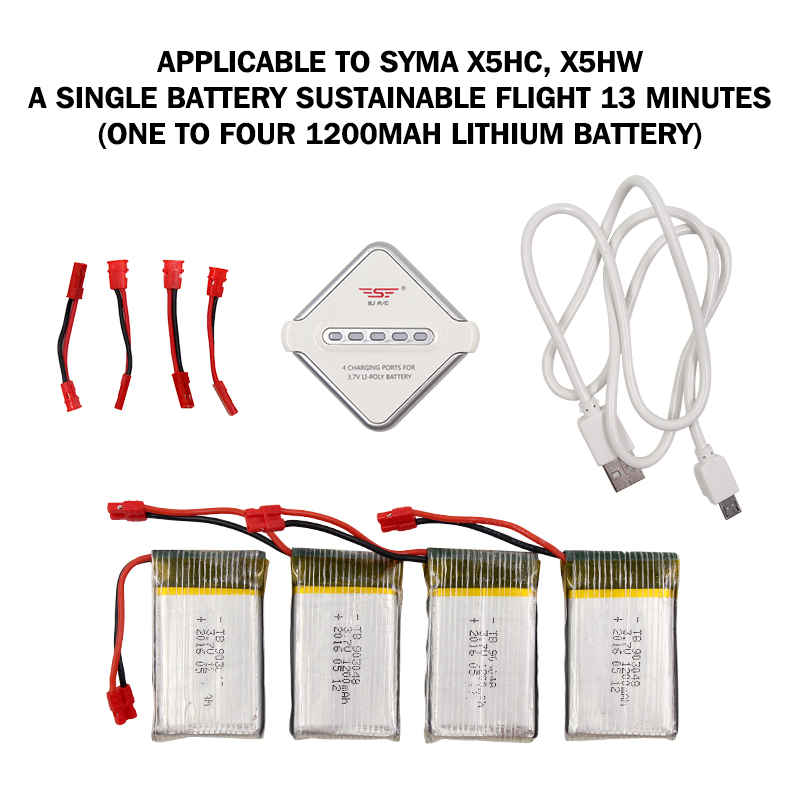 RC Quadcopter 4 port Charger for Syma X5HC X5HW with 3.7V 1200mAh 25C battery for Syma X5HC 1 X5HW 1