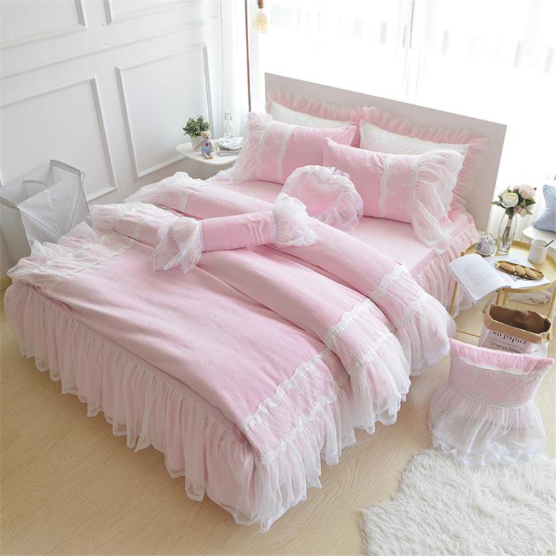 Pink Purple Blue Princess style Girls Bedding set Fleece Winter Duvet Cover Set with Lace Edge