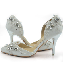 2016 Handcraft Handmade Rhinestone Pageant Event Shoes White Satin Bride Shoes Comfortable Wedding Party High Heel