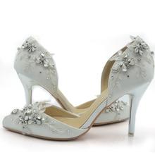 2016 Handcraft Handmade Strass Pageant Ereignis Schuhe White Satin Braut Schuhe Bequem Hochzeit High Heel-schuhe