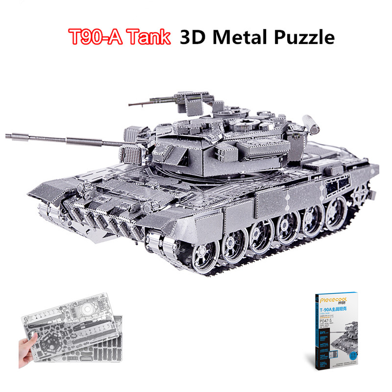 Piececool 2017 Newest 3D Metal Puzzles of T90 TANK 6 Stars Level 3D Metal Model Kits DIY Funny Gifts for Kids Toys Soviet Union