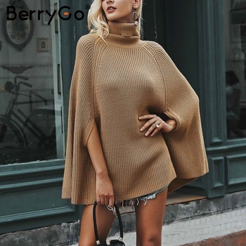 BerryGo Turtleneck knitted cloak sweater women Casual pullover Autumn winter jumper pullovers female streetwear 2018