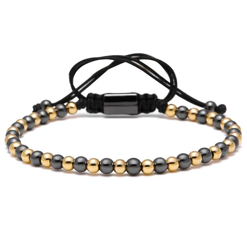 Prix pour Mcilroy Célèbre Marque Double Couleur Hommes Bracelet 4mm Titane Acier Rond Perles Macrame Tressé Bracelets Pour Hommes Femmes Cadeau