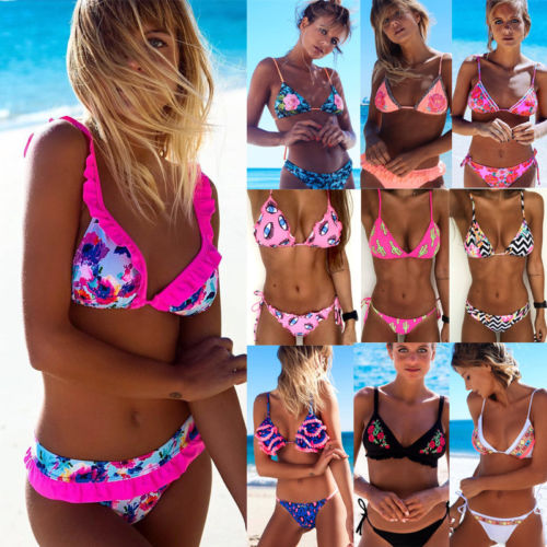 2018 New Flower Bikinis Set Combinatorial Set Sexy Women Swimwear Push Up Padded Neon Bandage Swimsuits Hot Selling Bathing Suit