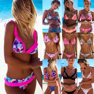 feab2165ed Sexy Women Swimwear Bathing Suit 2018 Push Up Padded Neon Bandage Swimsuits