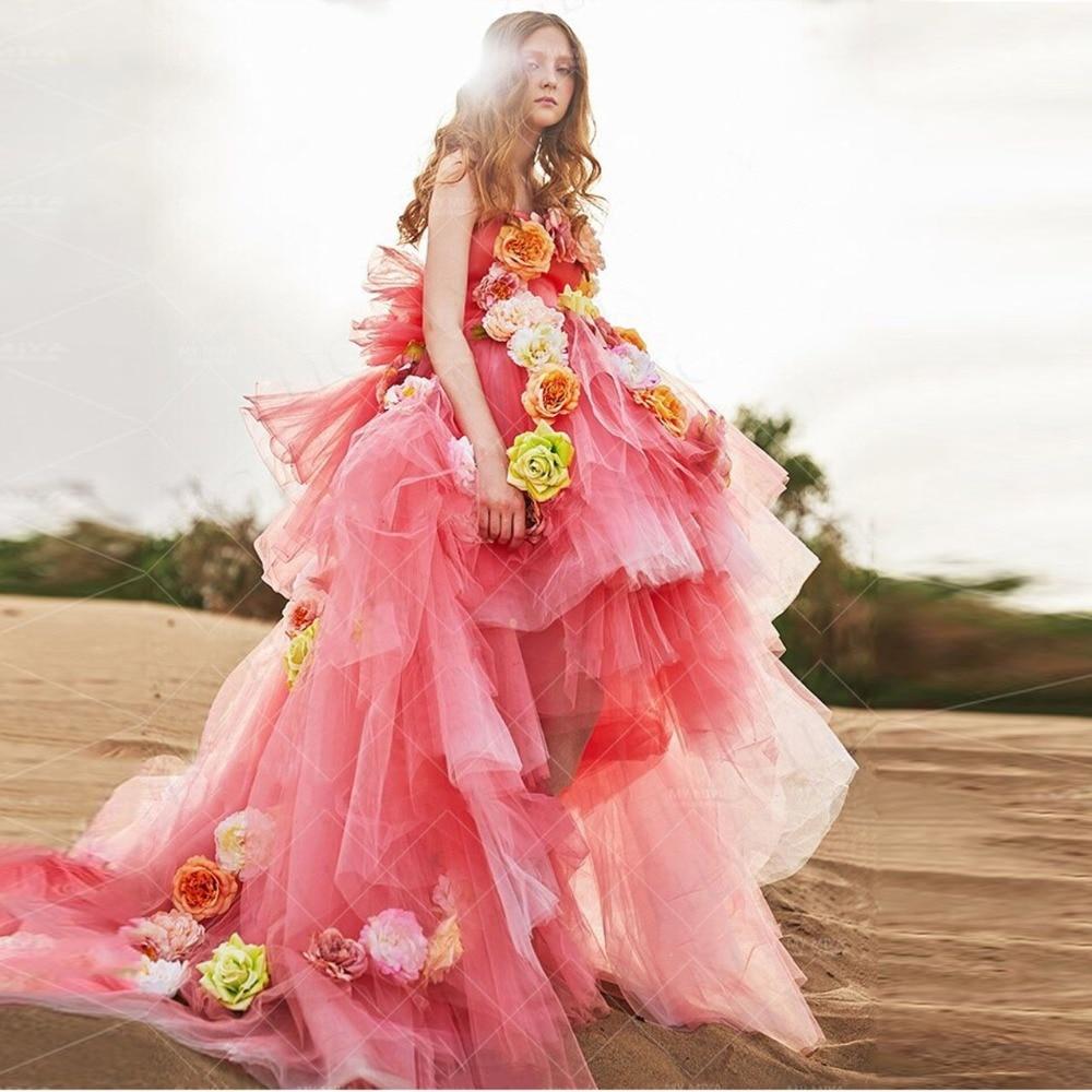 Zoete 3D Bloem Hoge Lage Tutu Prom Jassen 2019 Ruches Puffy Mesh Coral Eveing Toga Off Schouder Pretty Bridal Party jurken-in Jurken van Dames Kleding op AliExpress - 11.11_Dubbel 11Vrijgezellendag 1