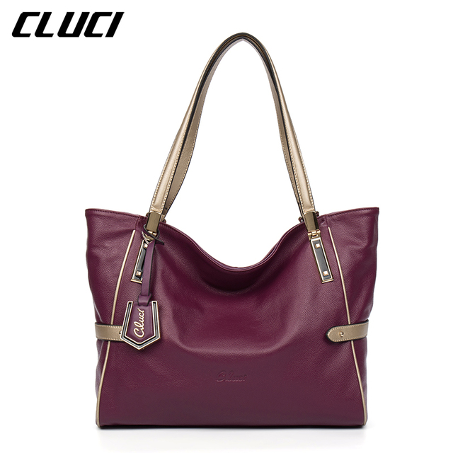 CLUCI Women Genuine Leather Luxury Handbags Vintage Zipper Black/Red/Gold/Purple/Blue Shoulder Bag Top-handle Bags Neverfull