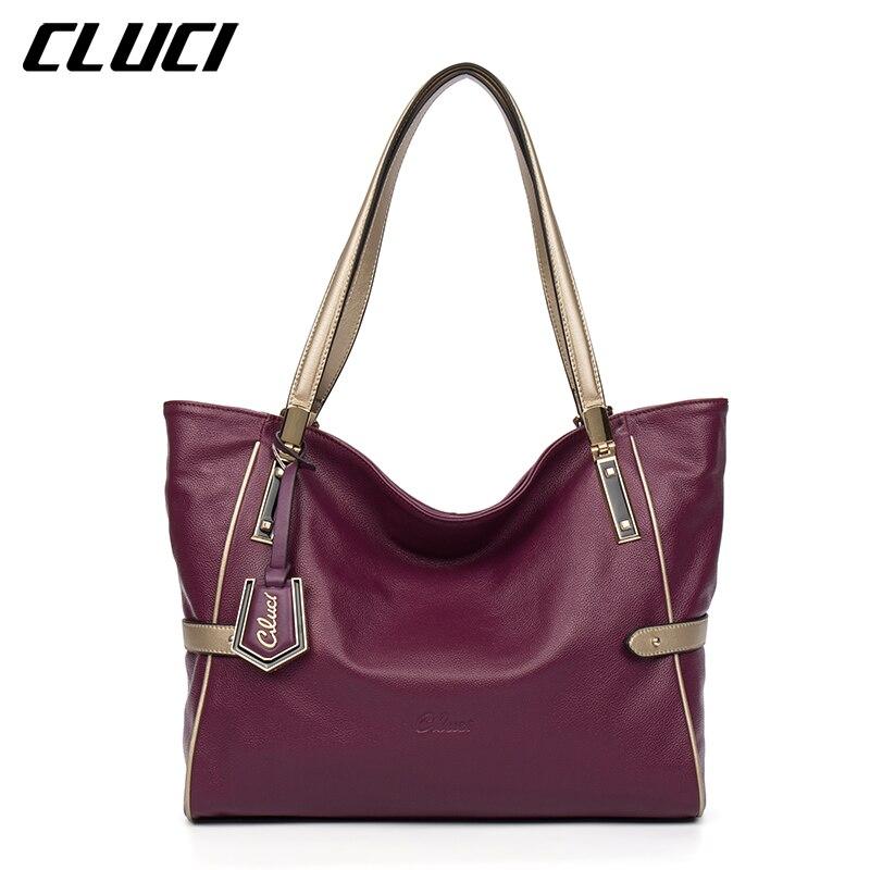 preto/vermelho/ouro/roxo/azul bolsa de ombro topo-lidar Item Name : Cluci Women Genuine Leather Luxury Handbags