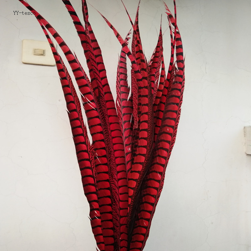 10pcs red natural Lady Amherst Pheasant Feathers 65 75cm 26 30inch Wedding Accessories Stage performance diy