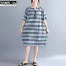 NBHUZEHUA T972 Summer Style Stripe Dress Women Short Sleeve Knitted Cotton T  Shirt Dress Plus Size c6a09e4301b4