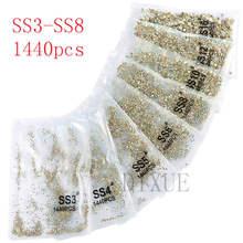 SS3-ss8, 1440 шт, прозрачные Стразы AB gold flack, 3D, без горячей фиксации, плоские с оборота, для украшения ногтей, плоские с оборота Стразы для одежды 073