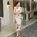 7 Color Chinese Traditional Dress Silk Cheongsam Long Qipao Mandarin Collar Vintage Dress Flowers Print Qipao Long Chinese Robes