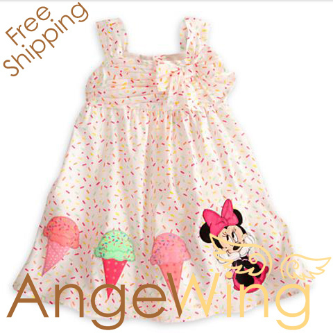 2013 Summer Dress Children Girl's Cartoon Minnie Mouse Ice Cream Casual Strap Dress Free Shipping