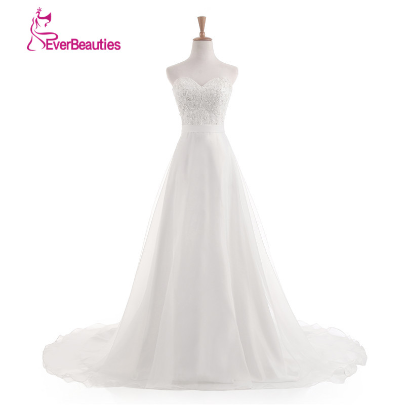 Vestido De Noiva 2017 Novo Stock Branco/Marfim de noiva Louisvuigon Chiffon Bordado Praia Vestido de Noiva A Linha 2017 Vestidos de Casamento