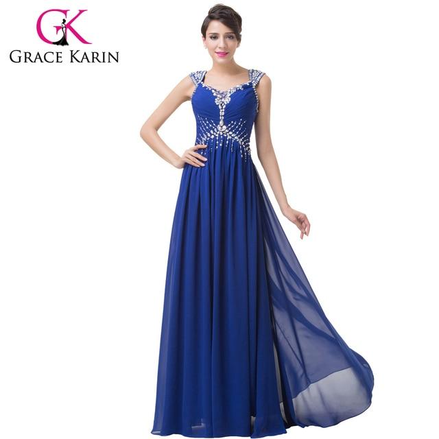 c219cf942e03 Grace Karin Floor Length Square Neckline Long Royal Blue Evening Dresses  Formal Elegant Evening Gowns Special Occasion Dress