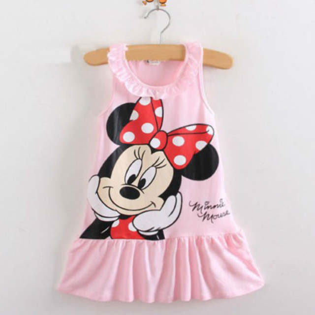 Baby Girls Minnie Mouse Dress Kids Cartoon Tops Clothes Party