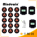 Mindewin Hot Sale Restaurant & Cafe Shop Wireless Calling Service System 15pcs black Calling Button + 3pcs Touch Watch Pager