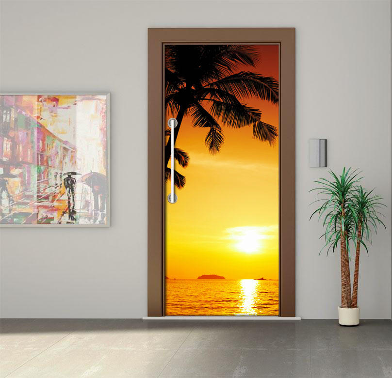 Free shipping beautiful seaside sunset Door Wall Stickers Mural ...