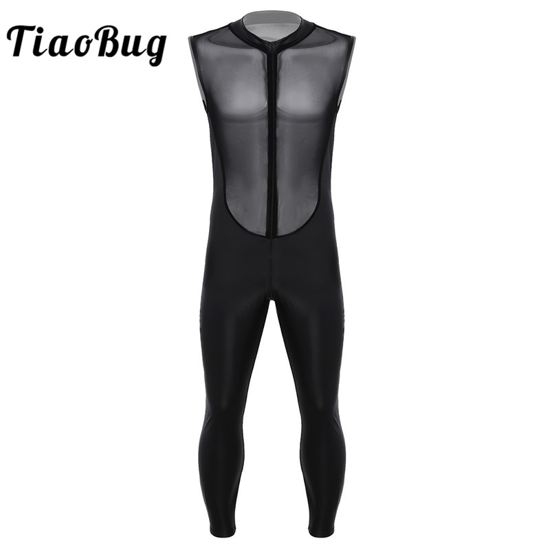 TiaoBug Adult Black Wetlook Patent Leather Sheer Mesh Splice Zipper Crotch Leotard Bodysuit Men Jumpsuit Zentai Club Costume