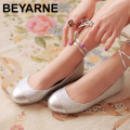 Free shipping Ivory Round Toe Ribbon Lace Up Satin Flats Women Shoes Wedding Bridal Flat