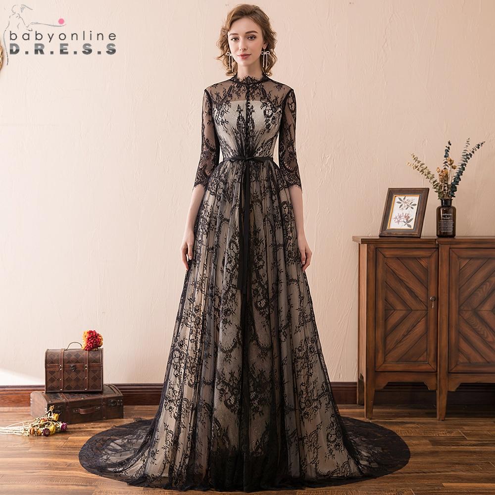 Babyonline Vintage Black Lace Prom Dresses 2019 Long Party ...