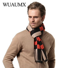 Wuaumx Brand Autumn Winter Scarf Men Fashion Design Scarves Male Imitation Cashmere Thick Warm Soft Plaid echarpe homme