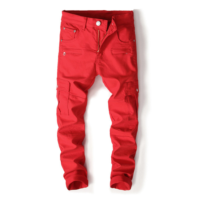 e61f559d Stylish designer high quaity skinny biker jeans with zipper boys patchwork  multi-pockets red stretch