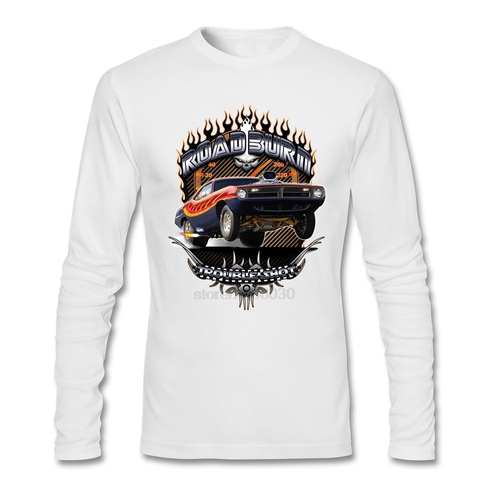 Creat <font><b>Your</b></font> <font><b>Own</b></font> O Neck Muscle Car - Barracuda Road <font><b>Burn</b></font> Long Sleeve Men Normal Winter Tee Shirt Wholesale