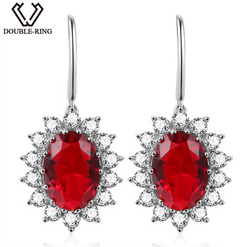 DOUBLE-R Princess Diana William 6.44ct Drop Earrings Genuine 925 Sterling Silver Jewelry Created Red Ruby Earrings for women