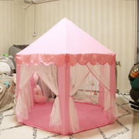 135*140cm 2 Colors Kids Play Tent Garden Mosquito Net Hexagonal Prince Princess Castle Play House Children Outdoor Toy Gifts