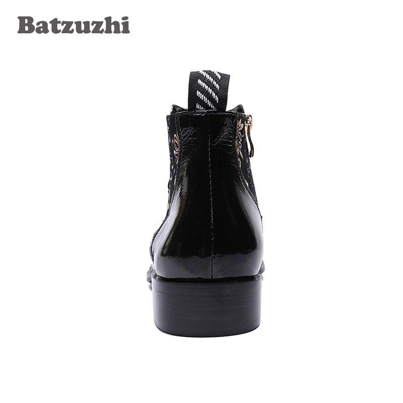 Metal Negro Botas Batzuzhi Pie Italiano Diseñador Partido Los Cuero Hombre De Dedo Us6 Baile Hombres Punta Del Zapatos 12 Hombre Tipo En 66xrCqnOPw
