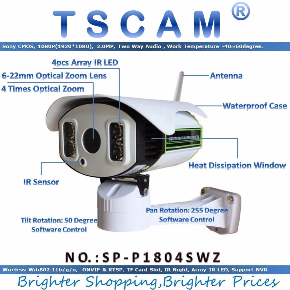 TSCAM new SP P1804SWZ Full HD 1080P 2 0MP IP Camera Wireless Wifi 6 22mm Optical