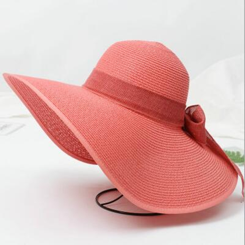 599963fc0 US $8.19 5% OFF Fashion Women Foldable Floppy Bow Straw Sun Hat Wide Brim  Cap Sun Visor Protection Summer Hats -in Sun Hats from Apparel Accessories  ...