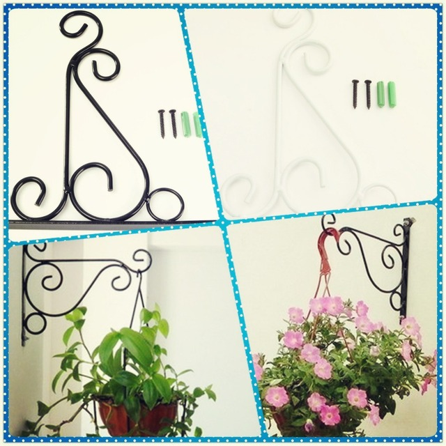 4 Colors Wrought Iron Hanging Plant Stand Flower Pot Hooks Holder