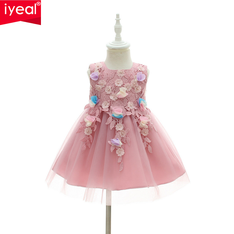 IYEAL High Quality Flower Princess Baby Dress for Infant Little Girl Elegant Birthday Wedding Party Kids Fancy Butterfly Dresses