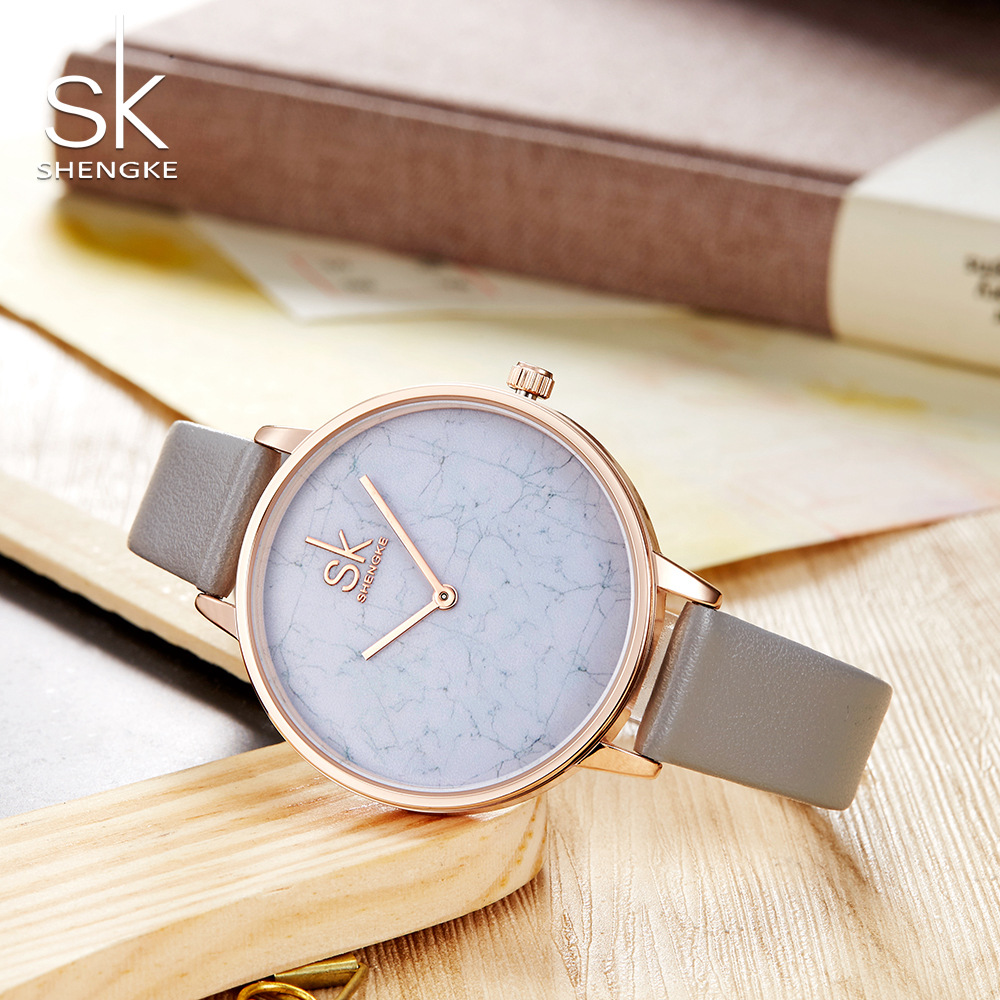2018 Fashion Shengke Dress Watches Simple Style Leather Bracelet Watch Women Marble Dial Creative Quartz Watches montre femme fashion women s bracelet watches pu leather gold dial lady women quartz wrist watch with golden chain creative jun24