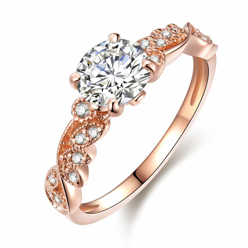2018 New Rose Gold Color Rings Fashion Retro Flower Cubic Zirconia Engagement Thin Ring Jewelry For Women Dropshipping Z35