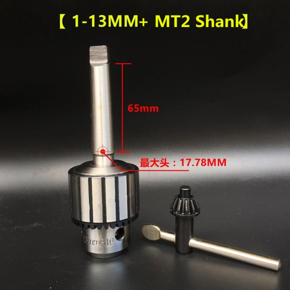 New Lathe Morse Taper Shank Drill Chucks B16 Drill Chuck 1-13mm Key Type with Lathe Morse Taper Shank mt 2 morse taper shank with 3 16mm spanner chuck 2 morse taper shank b16 heavy spanner drill chuck for twist drills chuck