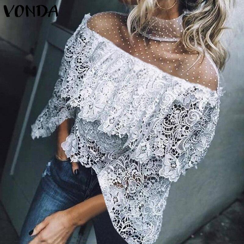 VONDA Tops For Women Lace Blouse 2020 Summer Hollow Tunic Off Shoulder Shirt Female Crochet Shirt Casual Loose Blusas Plus Size
