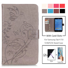 For Samsung Galaxy Tab T230 Cover 3D Butterfly High Quality Leather Flip Wallet Shell Tab4 7 inch T231 T235 Stand Tablet Case стоимость