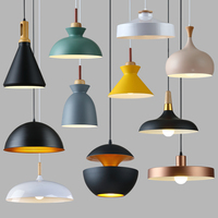 Nordic restaurant lamps Modern minimalist office chandeliers Aluminum single head pendant lamp shade Dining room chandeliers