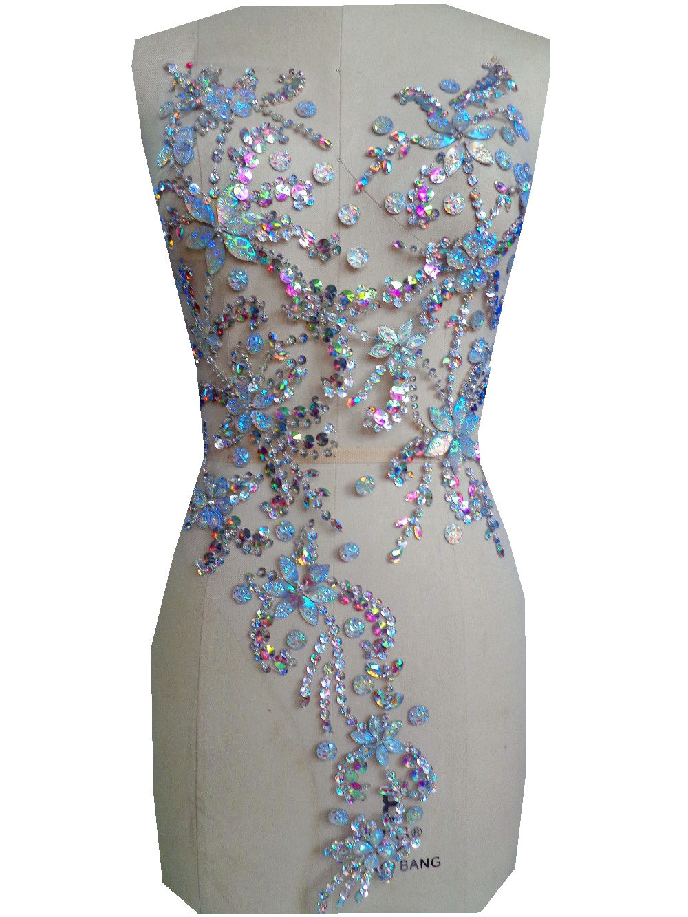 A5 Handmade Clear AB Colour Crystal  Patches Sew On  Rhinestones Applique With Stones Sequins Beads 60*30cm  For  Dress