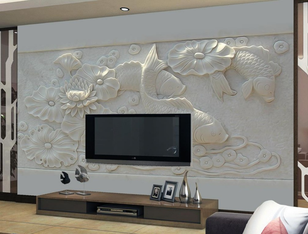 US $17.5 65% OFF|Custom Photo Wallpaper 3D Stereoscopic Relief pond fish TV  Background 3D Mural Wallpaper Home Decoration-in Wallpapers from Home ...