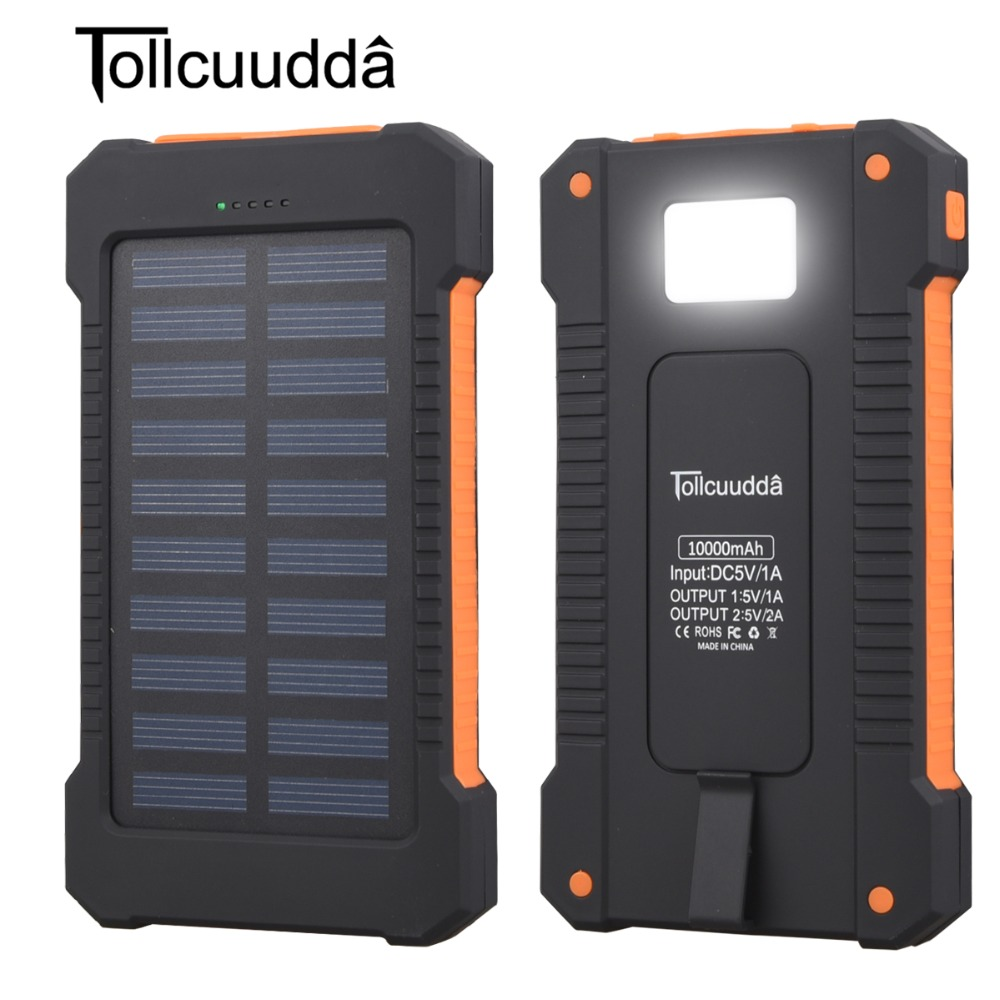 Solar Power Bank Waterproof 10000mAh Solar Charger 2 USB Ports External Charger Solar Powerbank for Smartphone with LED Light