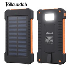 Solar Power Bank Waterproof 10000mAh Solar Charger 2 USB Por