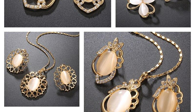 Opal Women Wedding Jewelry Set Bohemian Big African Jewelry Sets Dubai Gold Color Fashion Flower Necklace Earrings Set (2)